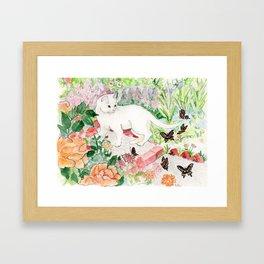 White Cat in a Garden Framed Art Print