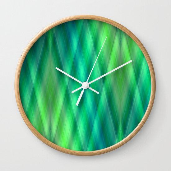 Zig Zag pattern light blue and green 2 Wall Clock