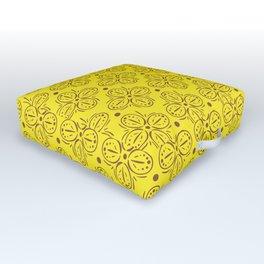 Yellow Batik Abstract Pattern Outdoor Floor Cushion