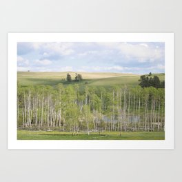 Lake and trees landscape Art Print