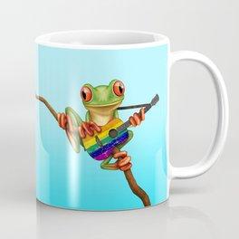 Tree Frog Playing Acoustic Guitar with Gay Pride Rainbow Flag Coffee Mug