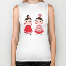 Spanish Woman flamenco dancer. Kawaii cute face with pink cheeks and winking eyes. Gipsy girl Biker Tank