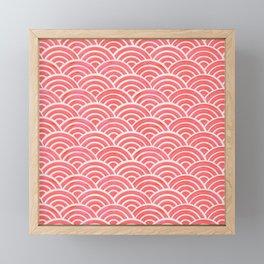 Japanese Seigaiha Wave Pattern – Coral Framed Mini Art Print
