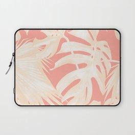 Tropical Coral Pink Palm Leaf Pattern Laptop Sleeve