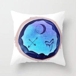 Blue Ink Trio Design Throw Pillow