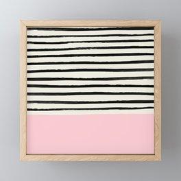 Millennial Pink x Stripes Framed Mini Art Print