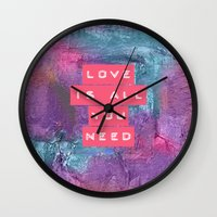 all you need is love Wall Clocks featuring LOVE IS ALL YOU NEED by INA FineArt