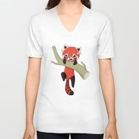 red panda V-neck T-shirts featuring Red Panda by Freeminds