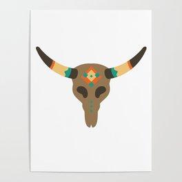 Vintage Bull Skull Poster