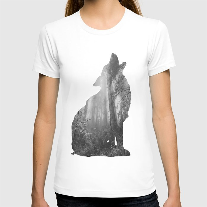 Wolf Silhouette | Forest Photography | Black and White T-shirt