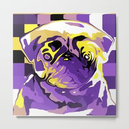Nonbinary Pride Painted Pug Portrait Metal Print