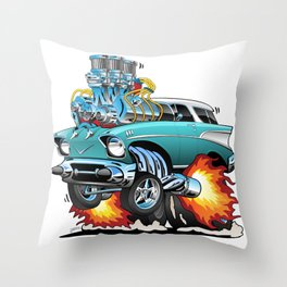 Classic Fifties Hot Rod Muscle Car Cartoon Throw Pillow