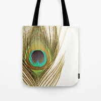 peacock feather Tote Bags featuring Peacock Feather by Kimberly Blok