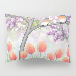 eastern bluebirds, tulips, & lilacs Pillow Sham