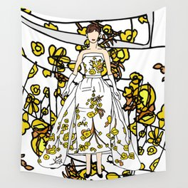 Golden Audrey Floral Wall Tapestry