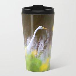 Great White Egret in the Marsh Travel Mug
