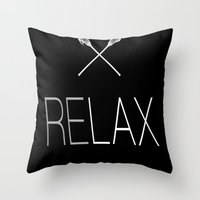lacrosse Throw Pillows featuring ReLax Lacrosse by RexLambo