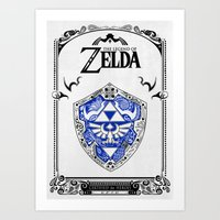 legend of zelda Art Prints featuring Zelda legend - Hylian shield by Art & Be