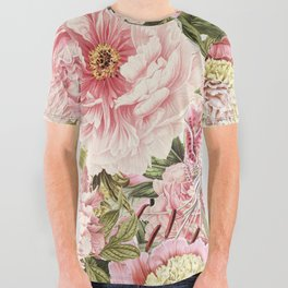 Vintage & Shabby Chic Floral Peony & Lily Flowers Watercolor Pattern All Over Graphic Tee