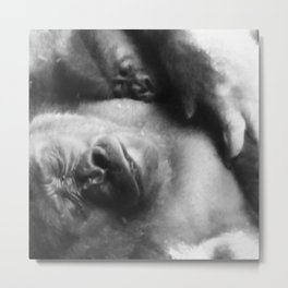 Gorilla & Child Metal Print