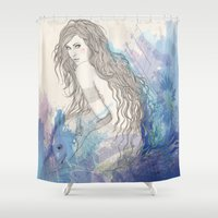 pisces Shower Curtains featuring Pisces by katiwo