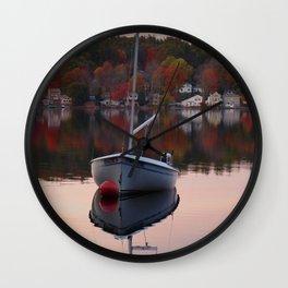 Sail Boat In Fall Wall Clock