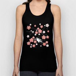 Navy blue cherry blossom finch Unisex Tank Top