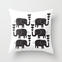 elephants Throw Pillows featuring ELEPHANTS by Matthew Taylor Wilson