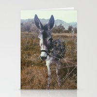 """donkey Stationery Cards featuring """"Retro Donkey"""" by Guido Montañés"""