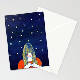 Girls in blue Stationery Cards