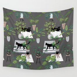 cats in the interior dark pattern Wall Tapestry