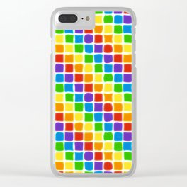 Rainbow Mosaic in Diagonal Stripes on White Clear iPhone Case
