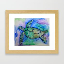Sea Turtle Watercolor Painting Framed Art Print
