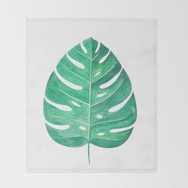 Monstera Leaf #2 | Watercolor Painting Throw Blanket