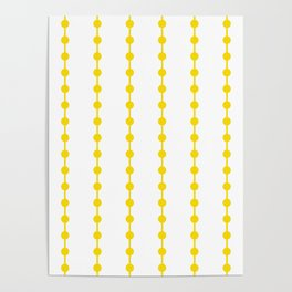 Geometric Droplets Pattern Linked - Summer Sunshine Yellow on White Poster