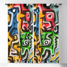 Primitive street art abstract Blackout Curtain