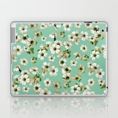Small flowers on green wall Laptop & iPad Skin