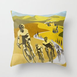 Strade Bianche retro cycling classic art Throw Pillow
