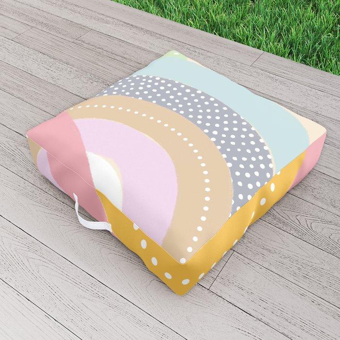 Rainbows and Polka Dots Outdoor Floor Cushion