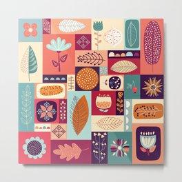 autumnal decorative background with seasonal elements Metal Print