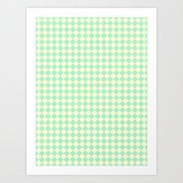 Cream Yellow and Magic Mint Green Diamonds Art Print