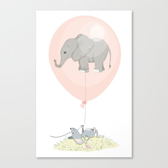 Elephant in a balloon Canvas Print