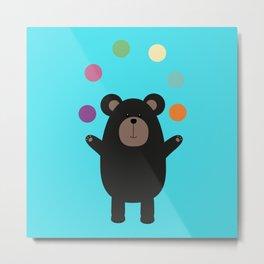 Black Bear juggling Metal Print