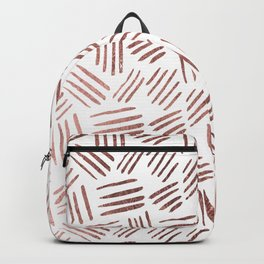 Elegant faux rose gold modern geometric stripes Backpack