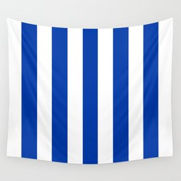 Royal azure - solid color - white vertical lines pattern Wall Tapestry