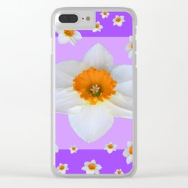 ULTRA VIOLET  WHITE DAFFODILS GARDEN ART Clear iPhone Case