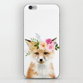 Baby Fox with Flower Crown iPhone Skin