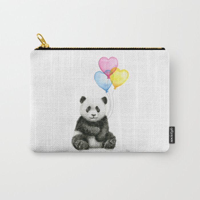 Panda Baby With Heart Shaped Balloons Whimsical Animals Nursery Decor Carry All Pouch