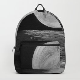 Moonlit. Sunset, water, moon, full moon, orginal painting by Jodilynpaintings. Black and white Backpack