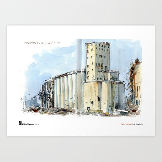 "Cathy Johnson, ""Grain Elevators"" Art Print"